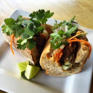Front Street Cafe: marinated Tofu Bahn Mi with pickled vegetables