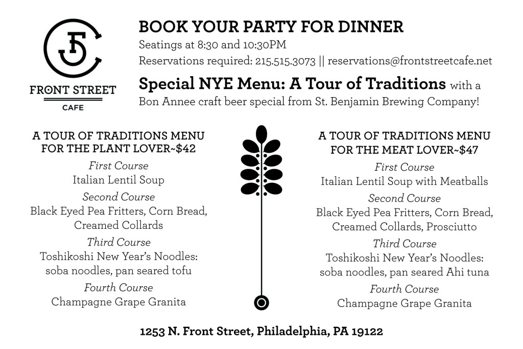 New Year's Eve 2015 Dinner Menu at Front Street Cafe.